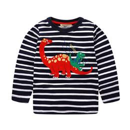 Wholesale Boys Dinosaur Shirts - Children clothing T shirt for Boy Dinosaur Applique Navy Striped T Long sleeve Tops Kids clothing wholesale 2017 Autumn