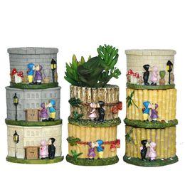Vasi da fiori zakka online-Zakka Mini Flesh Flower Pots Resina Cartoon Pianta Piante in vaso Artigianato Giardinaggio all'ingrosso