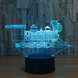 Wholesale Battery Trains - 3D Train LED Illusion Lamp Night Light 7 RGB Lights DC 5V USB Powered AA Battery Bin Dropshipping Gift Box