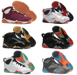 Wholesale Green Gg - 2016 air retro 7 VII Men basketball shoes raptor guyz Hares Olympic Bordeaux GG Cardinal Raptor French Blue white BRED gold sports Sneakers