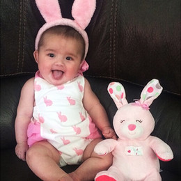 Wholesale Toddler Animal Onesies - Newborns Rompers Rabbit Pinted Onesies Clothes for Gilrs Toddler Girl Animal Summer Outfits Cute Baby Ruffled Jumpsuit Clothing