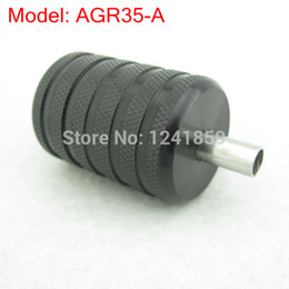 Wholesale Tattoo Back Stems - Wholesale-35mm Knurled Black Aluminum Alloy Tattoo Grip With Back Stem Supply AGR35-A#