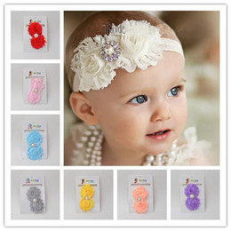 Wholesale Shabby Lace - Cute Children's Hair Accessories Shabby Flowers Baby Headbands Chiffon Fabric Flower Pearls Rhinestones Button Children Hair Accessory