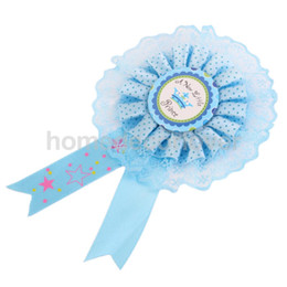 Wholesale Gifts For Baby Boy Party - Wholesale-A New little Prince Blue Badge Rosette for Baby Boy Gift Baby Shower Decor