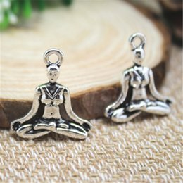Wholesale Yoga Wholesale Supplies - 8pcs--Yoga Charms silver tone Mediation OM Charms pendants ,DIY Supplies 24mm x 21mm