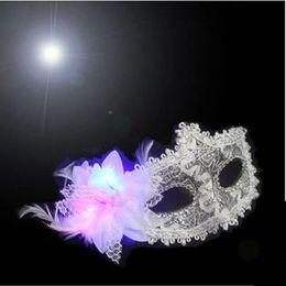 Wholesale Led Face Mask Wholesale - Colorful Party Mask Princess Luminous Mask Half Face Masks Halloween Masquerade Female LED Lace Mask Adult Children's Cosplay LED Masks