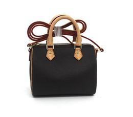 Wholesale Top Grade Handbags - Top Grade Brown Canvas Leather Lady Handbag Nano Speeedy M61252 Women Fashion Designer Shoulder Bag Messenger Oxidization