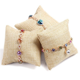 Wholesale Chain Bangle Holders - Fashion 1 Set 10 Pcs Linen Little Pillow Display For Earrings Necklace Chains Beads Pendant Necklace Bangle Holder