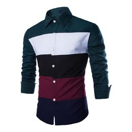 Wholesale french cuff clothing - Wholesale- New Fashion Long Sleeve Cotton Patchwork Slim Fit French Cuff Casual Male Shirt Clothes Dark Green Sleeves Black sleeves