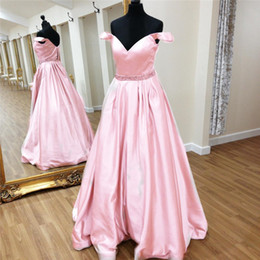 Wholesale Long Jackets Women Cheap - Elegant Evening Gowns Cheap Vestido Longo De Festa Para Casamento 2017 Pink Satin Long Prom Party Dresses for Women