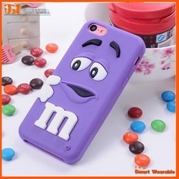 Wholesale Mm Case Iphone Chocolate - 3D Cute M&M MM Rainbow bean Chocolate cases silicone rubber cases shin cover for iphone 4 4S 5 6 6plus 7 7plus