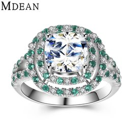 Wholesale Wholesale Emerald Diamond Rings - MDEAN 925 solid sterling silver ring Emerald CZ diamond jewelry wedding rings for women engagement silver women rings MSR481