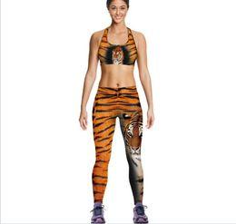 Wholesale Leopard Print Vest Wholesale - 10 set women Tiger Camisoles Yellow Leopard Tanks Shirts Running Singlet Vest Print Gym Sports Tank Tops Digital Print Sleeveless A064