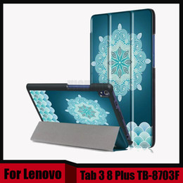 Wholesale 8inch Tablet Case Stand - Wholesale- Print PU Leather Case for Lenovo Tab 3 8 Plus 8inch Tablet Stand Protective Cover for Lenovo P8 TB-8703F TB-8703X + Screen film