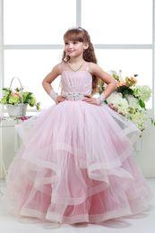 Wholesale Strapless Wedding Dresses Vests - Hot Sale 2017 Elegant SexeMare Flower Girl Dresses Appliques Long Princess Party Pageant first communion dresses FD044