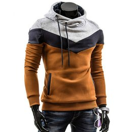 Wholesale Wholesale Polyester Hooded Jacket - Wholesale- BONJEAN Spring Autumn Mens Casual Fit Hooded Hoodies Sweatshirt Casualwear Male Patchwork Fleece Jacket 6 Colors plus size