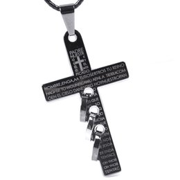 Wholesale Titanium Steel Mens Necklace Chain - New Personalized letter print cross pendant necklace mens titanium steel cross pendants leather chain necklaces casual jewelry
