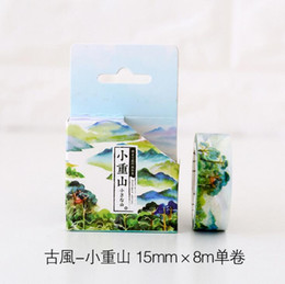 Wholesale Scrapbooking Adhesive Tape - Wholesale- 2016 2J113 1.5CM The Endless Green Forest Moutain Washi Tape Adhesive Tape DIY Scrapbooking Sticker Label Masking Tape