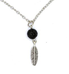 Wholesale Feathers Necklaces - New Lava-rock Feather Pendant Aromatherapy Essential Oil Diffuser Necklaces Natural Black Lava Pendant Necklace Free Shipping