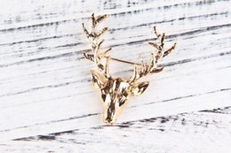 Wholesale China Steel Collar - .2 colors Retro Antlers Brooch pin Shirt Suit Collar pin gold Deer Antlers Head brooch animal model pins for men Christmas gift 10