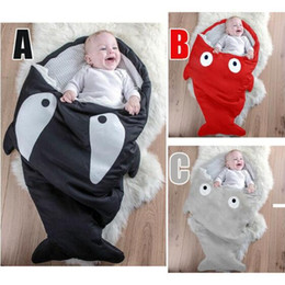 Wholesale Baby Strollers Winter - 3 Colors 88*54cm Envelope Shark Sleeping Bags Ins Baby Strollers Bed Newborn Winter Swaddle Kids Cartoon Blanket Fashion Wrap CCA7882 10pcs