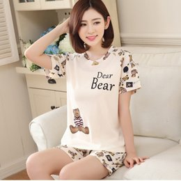 Wholesale Girls Silk Shirt - 2017 Summer Women Pijama Feminino For Women Pajama Sets Girls Verano Girls Milk Silk Cotton Sleepwear Sets Free Shipping