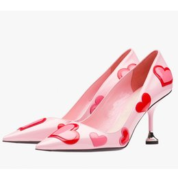 Wholesale Cute Medium Heels - 2017 ZK shoes cute sweet genuine leather lady pumps heart pattern pointed toe 6cm heel height from 4`12.5 US size