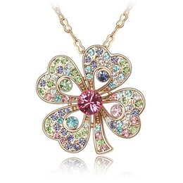Wholesale Real Clover Necklace - Wholesale-Real Austrian Crystals 18K Gold Plated Four Clover Crystal 18K Gold Plated Pendant Necklace For Women New Sales Hot #85460