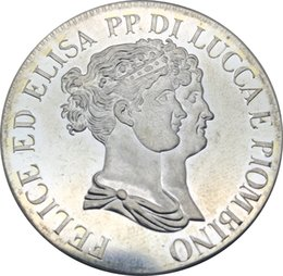 Wholesale City Brass - 1808 5 Franchi   5 Franc 1808 Italian city-states Brass Silver Plated Copy Coin