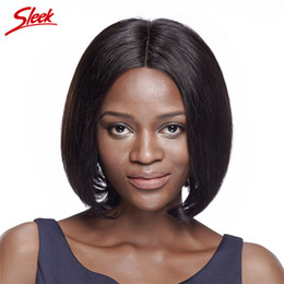 Wholesale Medium Length Straight Hair Wigs - Sleek Medium Length Classic Silky Straight Bob Hair With Middle Part Lace Front 10 Inch Human Hair Wig Natural Black Color