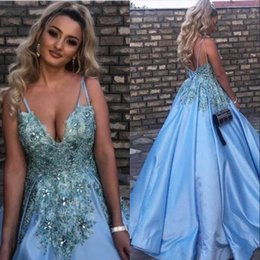 Wholesale Navy Blue Dresses Baby - New Baby Blue Sexy V-Neck 2018 Crystals Evening Dresses Lace Appliques Long Prom Gowns Formal Dresses Party Wear Cheap