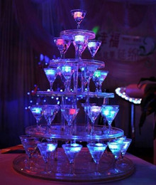 Wholesale Champagne Towers - Polychrome Flash Ice Liquid Active Sensor Glowing Ice Cube Lights Decorative Light Up Bar Club Wedding Party Champagne Tower Drink Cup