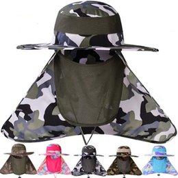 2019 sombrero de sol para hombre 6 colores Summer Sun Hat Bucket Men Outdoor Camouflage Fisherman Hat Sun Shade Prevent Mosquito Fishing Cap Mesh Head Face Protector sombrero de sol para hombre baratos