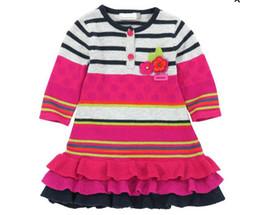 Canada Automne et hiver Enfants Filles Robe De Fil De laine Tridimensionnel Crochet Fleur Coton À Tricoter Rayure Robes En Gros Offre