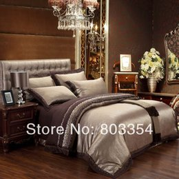 Wholesale King Bedding Sets For Cheap - Wholesale-Cheap Luxury Bedding Sets Silk Quilt Duvet Cover Sets Queen King Size Bedding Sets Many Luxury Bedding Patterns for Selection