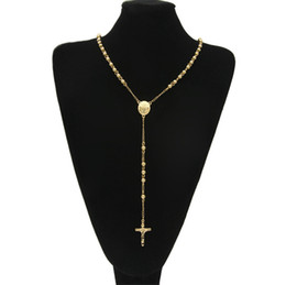 Wholesale gold rosary cross - Gold Stainless Steel Bead Chain Jesus Christ Cross Pendant Rosary Long Necklace Mens Womens Hip hop Jewelry