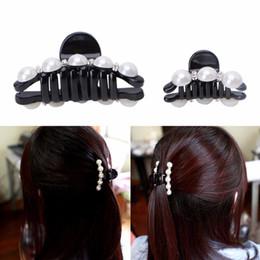 Garras de cabelo elegante on-line-1 pc elegante cabelo preto garra cabelos clips falsas pérolas de plástico hairpin barrette