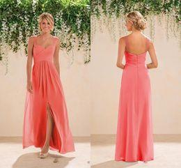 Wholesale Spaghetti Chiffon Prom Dresses - 2017 Coral Beach Bridesmaids Dresses Chiffon Long A line Beaded Spaghetti Straps Crystals Split Prom Gowns Bridesmaid Dresses New Fashion