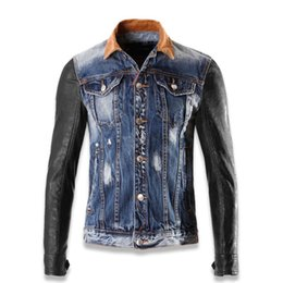 Wholesale Denim Jacket Men Leather Sleeve - Wholesale- Men's jacket spell leather cowboy mercerized cotton denim fabric wash jacket sleeve cultivate one's morality Men jeans jacket