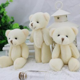 Wholesale Teddy Bouquet Wholesale - 24pcs wholesale 12CM white jointed mini teddy bear small teddy bear  cartoon bouquet toy wedding gifts