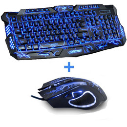 Wholesale Multimedia Led Keyboard - New Red Purple Blue Led Backlight USB Wired Laptop PC Pro Gaming Keyboard Mouse Combo for LOL Dota 2 Gamer Keyboard Mouse Combo