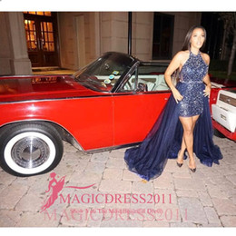 Wholesale Detachable Red - Castle Fashion Sparkle Prom Dresses A Line Halter Backless Sweep Train Detachable Train Beaded Red Carpet Dress Celebrity Dresses