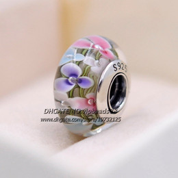 Wholesale Colorful Heart Charm - S925 Sterling Silver fashion jewelry Colorful flowers Murano Glass charms Beads Fit European pandora DIY Bracelets Necklace 221