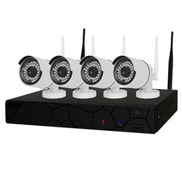 Wholesale Outdoor Cctv Cameras - 4CH CCTV System Wireless 720P NVR 4PCS 1.0MP IR Outdoor P2P Wifi IP CCTV Security Camera System Surveillance Kit
