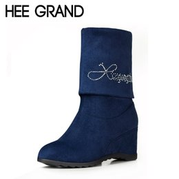 Wholesale Sexy Rhinestones Wedges - Wholesale-HEE GRAND Sexy Mid-Calf Women Boots Autumn Winter Ankle Boots Rhinestone Slip On Wedges Height Increasing Shoes Woman XWX1779