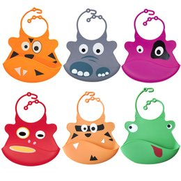 silicone pocket bibs Coupons - Wholesale- Cartoon Waterproof Silicone Bib Feeding Stereo Pick Rice Pocket Baby Saliva Towel Newborn Aprons FJ88