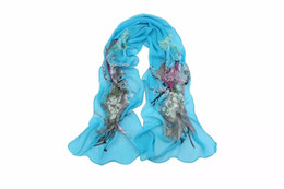 Wholesale Wholesale Silk Peacock Scarves - Fashion flowers Peacock Beach scarf chiffon georgette silk scarf women's spring and autumn beach scarf Wrap Swhal