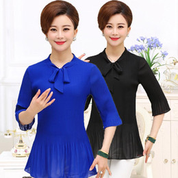 Wholesale Plus Size Upper Garments - middle aged women clothes plus size Summer wear T-shirt sleeves big yards of spring snow spins unlined upper garment of mother PXOS25CL709