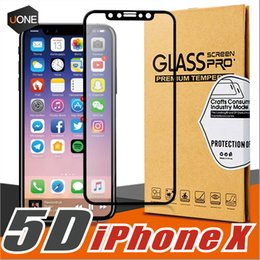 Wholesale 5d Body - For iPhone X Protective Film Full Body Cover 5D Tempered Glass Screen Protector 9H Hardness Black White Color For Iphone 8 8Plus