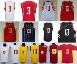 Wholesale Higher Chinese - High Qiality 13 James Harden Sale Basketball Jerseys Throwback Chinese 3 Chris Paul Jersey Sport Stitched Red White Blue with player name
